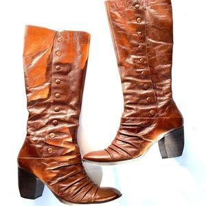 Bronx cognac leather block heel boots